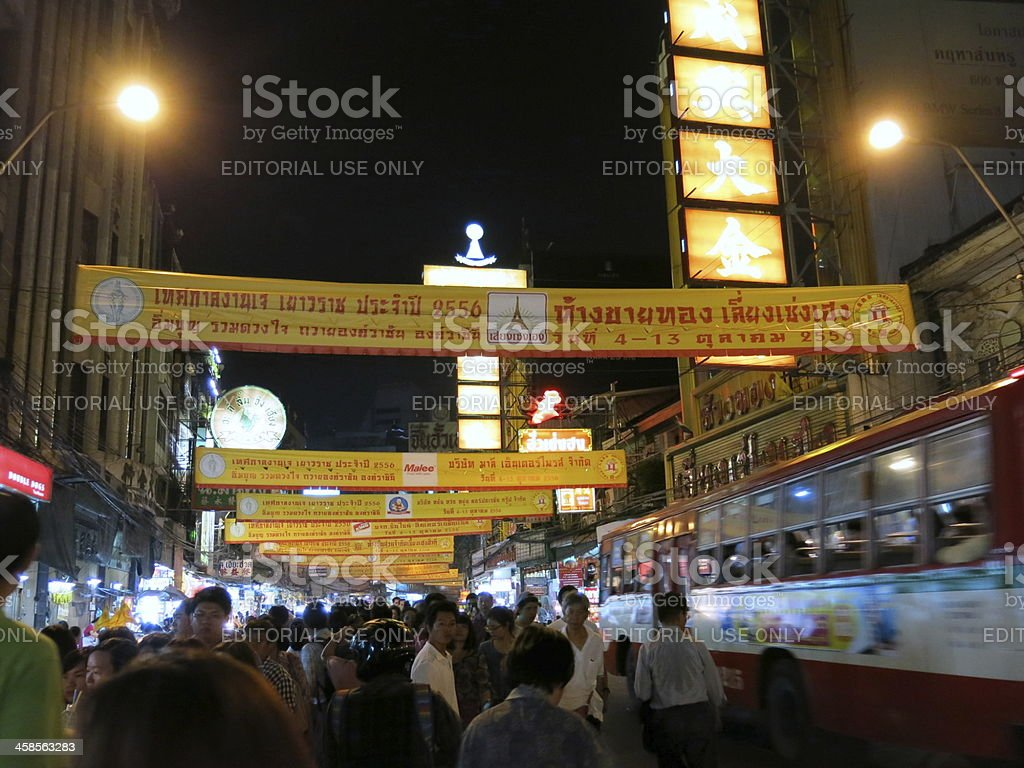 China Town during Vegetarian Festival, Bangkok, Thailand royalty-free stock photo