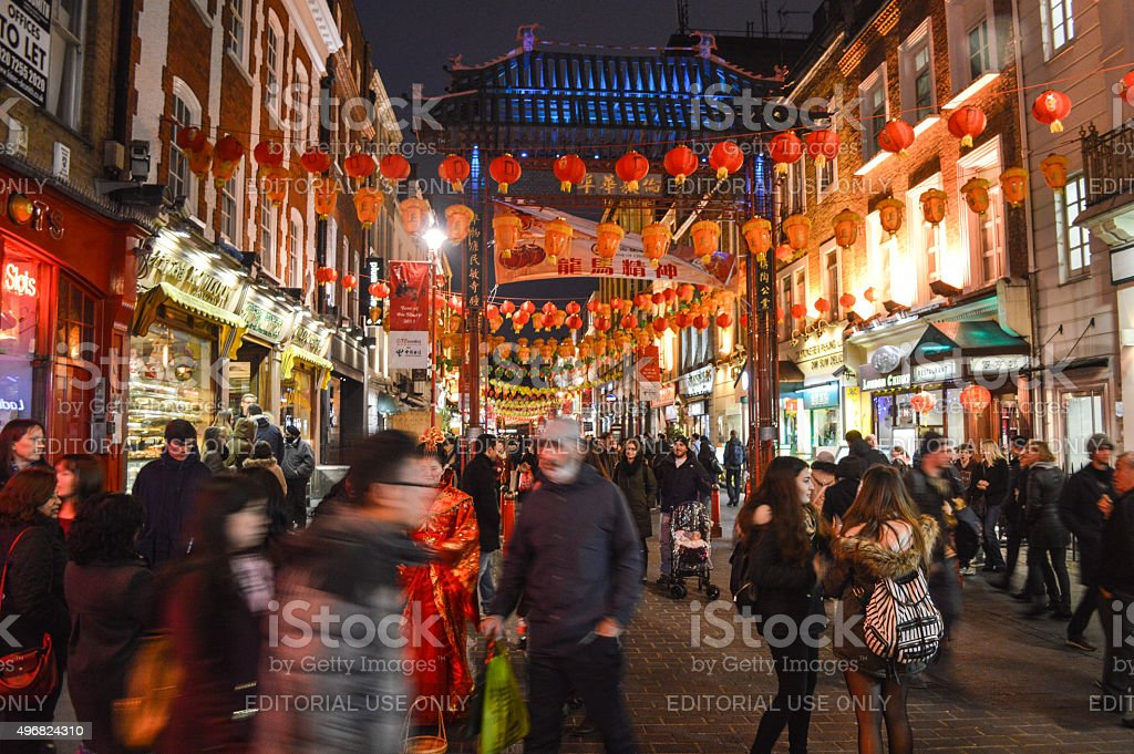 China Town in London, UK at night stock photo