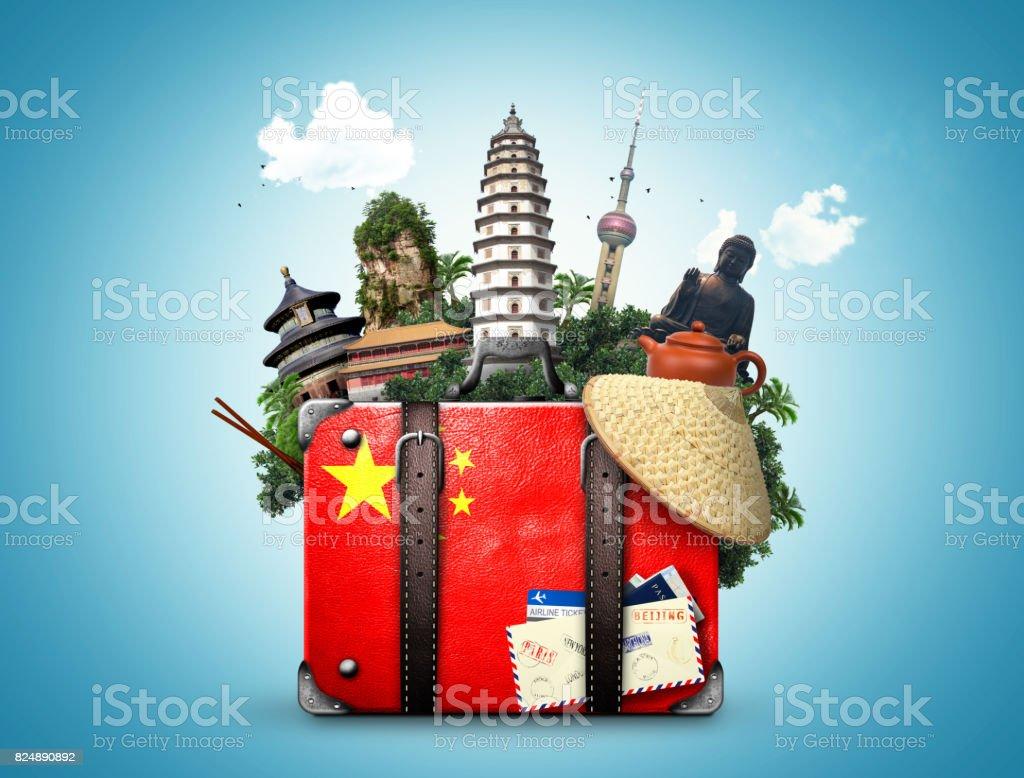 China, vintage suitcase with China flag stock photo