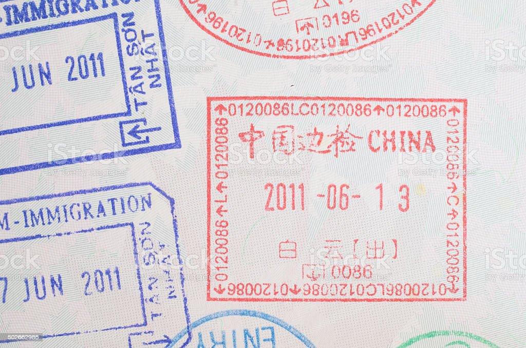 China visa passport stamp stock photo