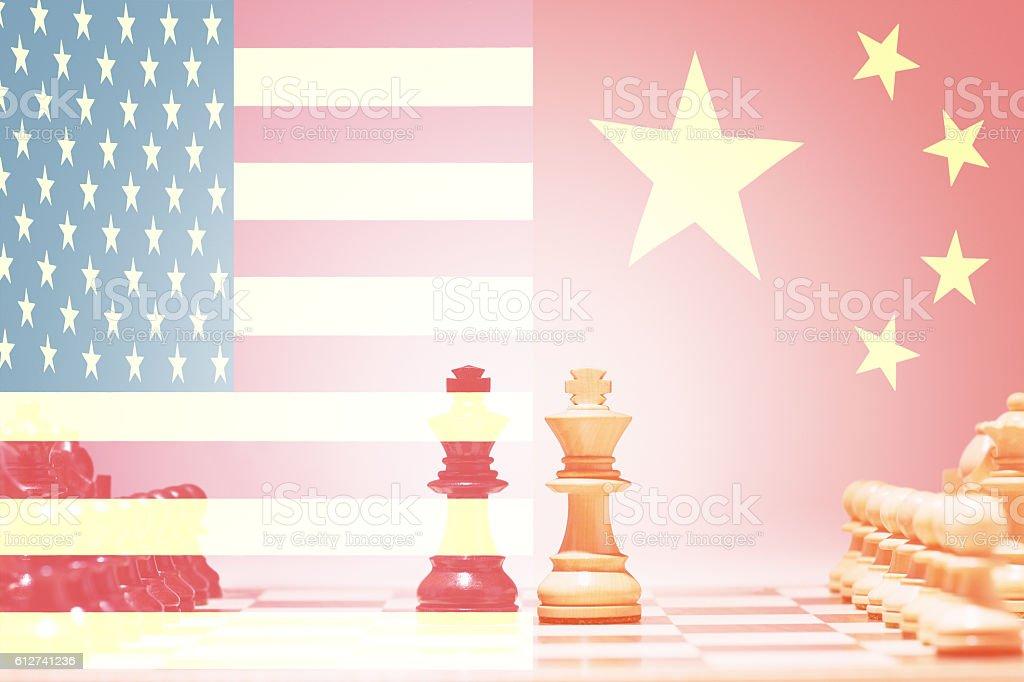 China vs USA Chess Game stock photo