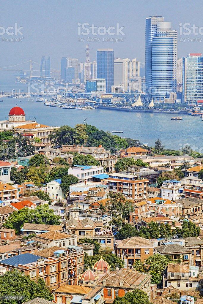 china xiamen city at day stock photo