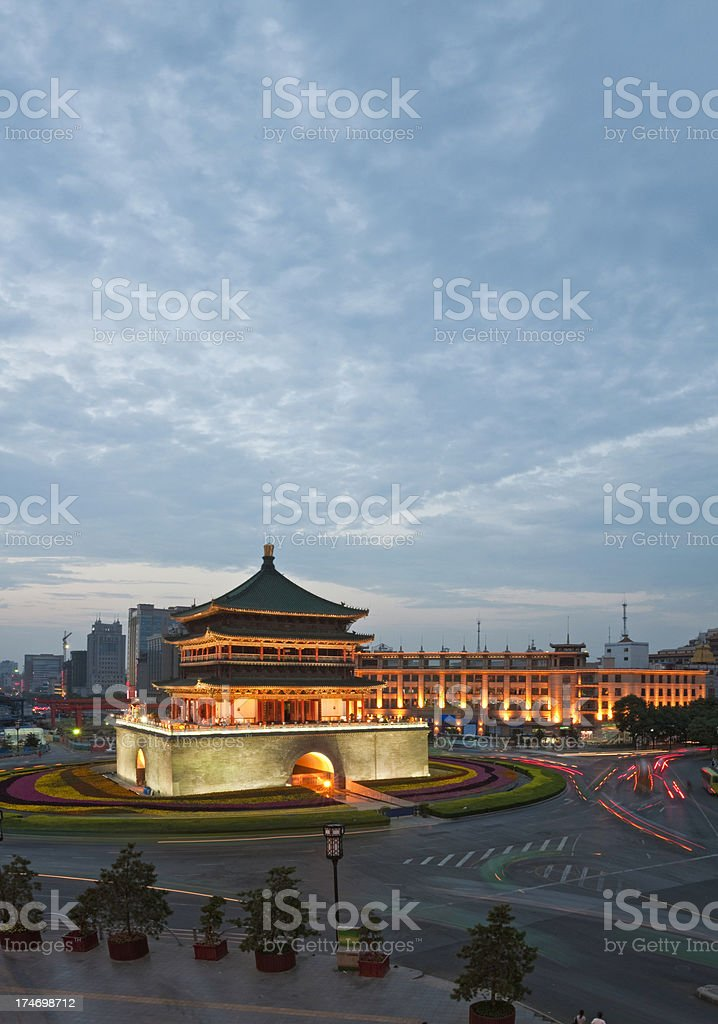 China Xi'an Bell Tower dusk royalty-free stock photo