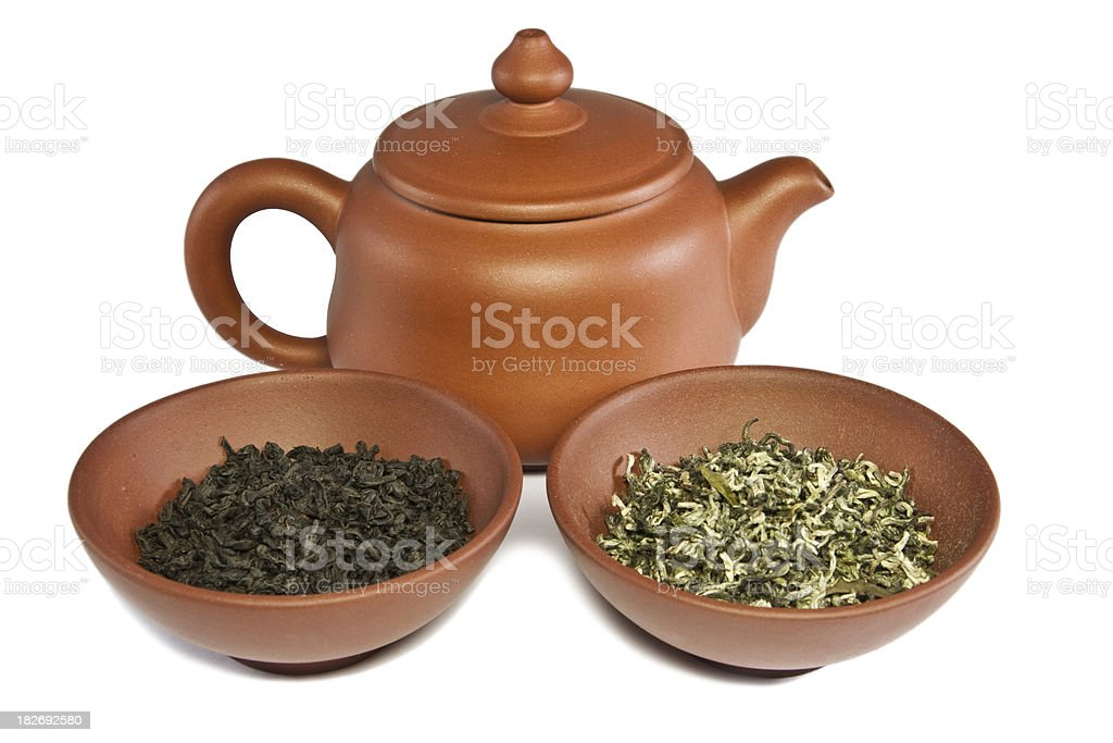 China YiXing teapot and two bowl royalty-free stock photo