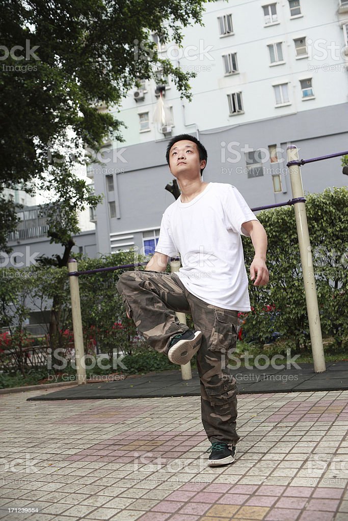 China Youth Kicking shuttlecock royalty-free stock photo