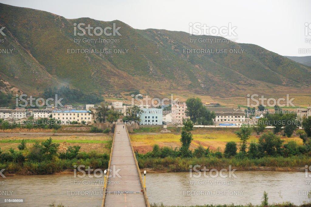 China's border with North Korea in Jilin stock photo