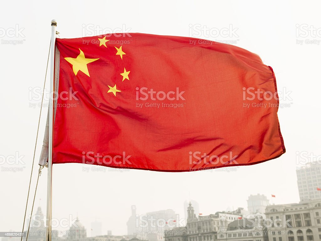 China's Flag in Shanghai royalty-free stock photo