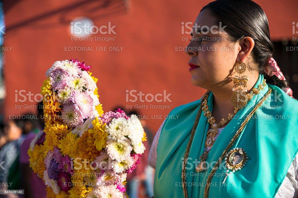Chinas Oaxaqueñas, indigenous young women from Oaxaca posing for...