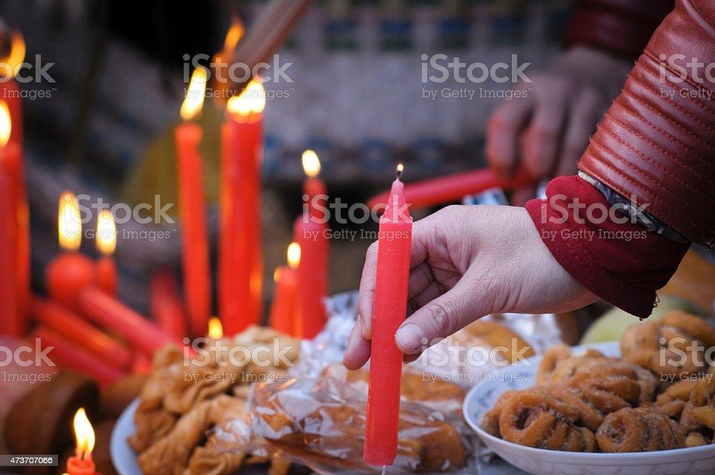 China's rural vulcan worship ceremony stock photo