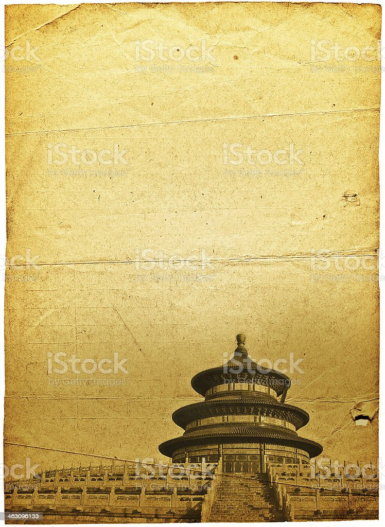 China's Temple of Heaven in the old paper pictures royalty-free stock photo
