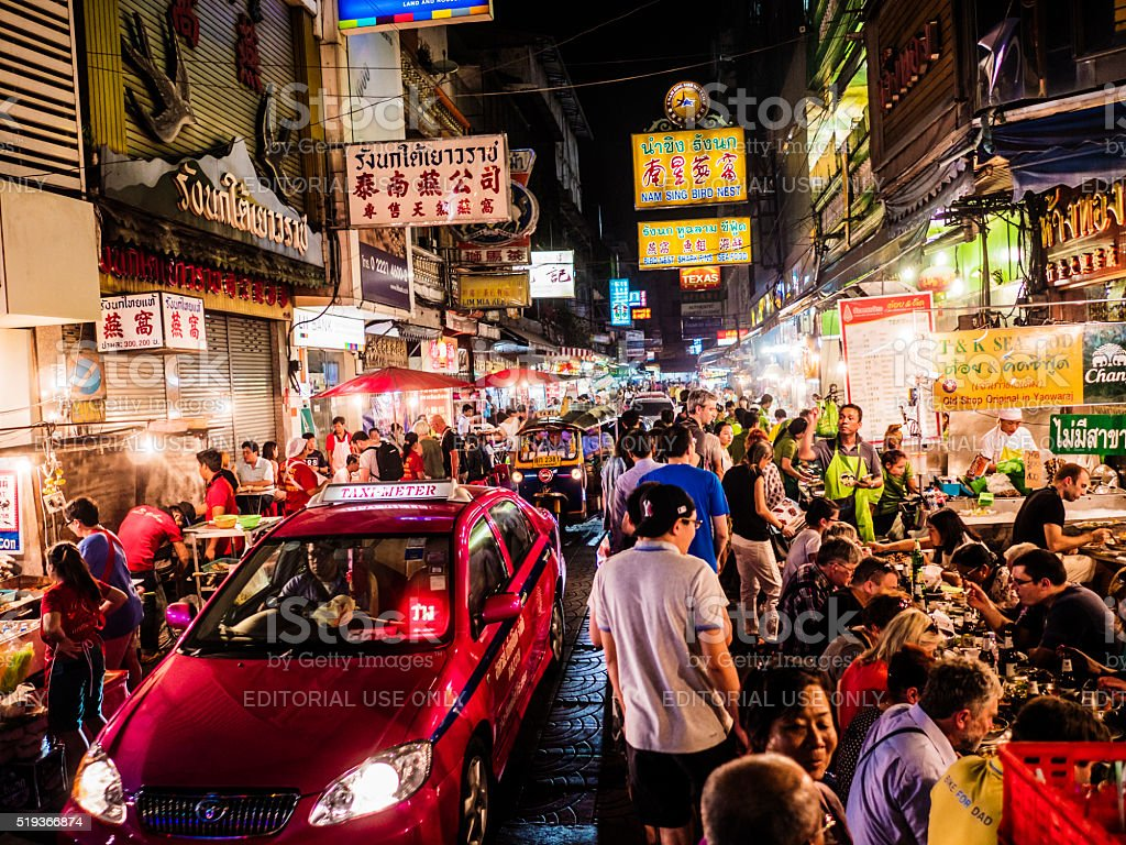 Chinatown at night Bangkok stock photo