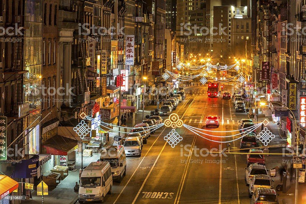 Chinatown at Night, New York City royalty-free stock photo