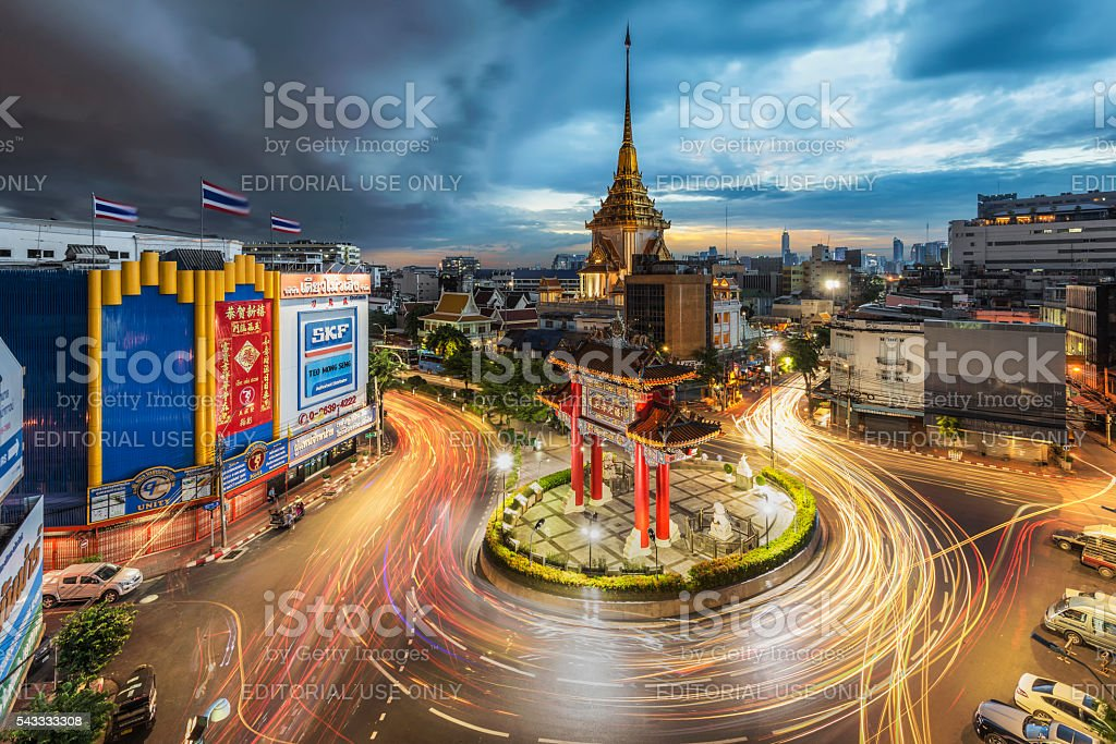 Chinatown, Bangkok with arcus cloud in the sky stock photo