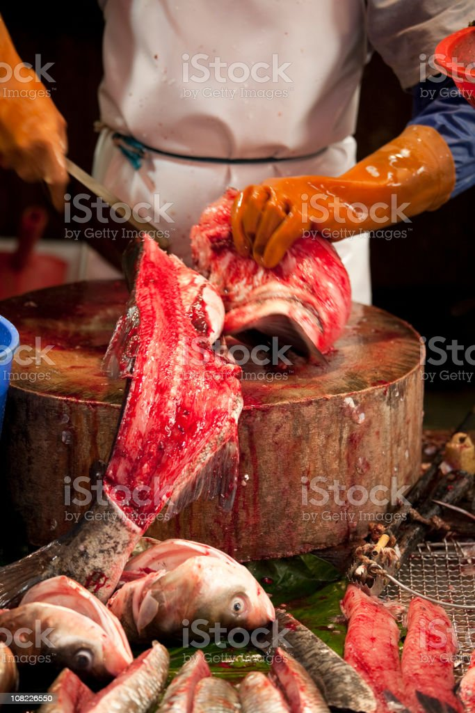 Chinatown Fish Market Fresh Catch of the Day, Fishmonger royalty-free stock photo