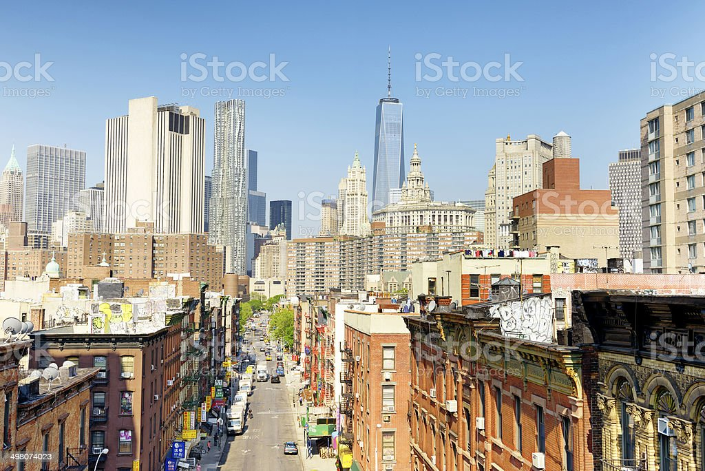 Chinatown, Freedom Tower, Lower Manhattan, NYC. Aerial View royalty-free stock photo