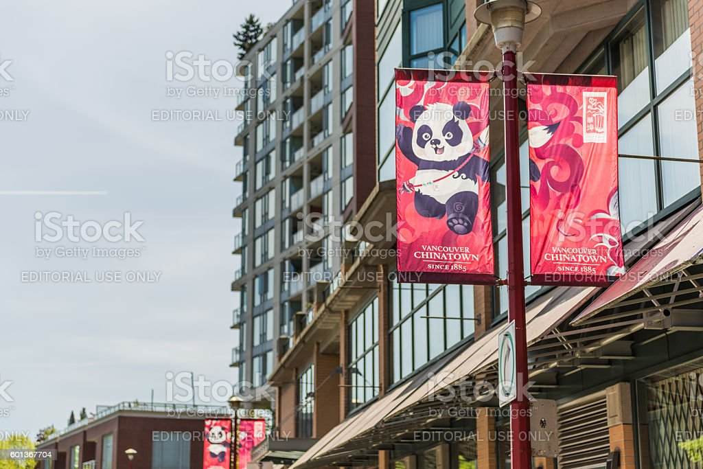 Chinatown in downtown with banner and panda symbol stock photo