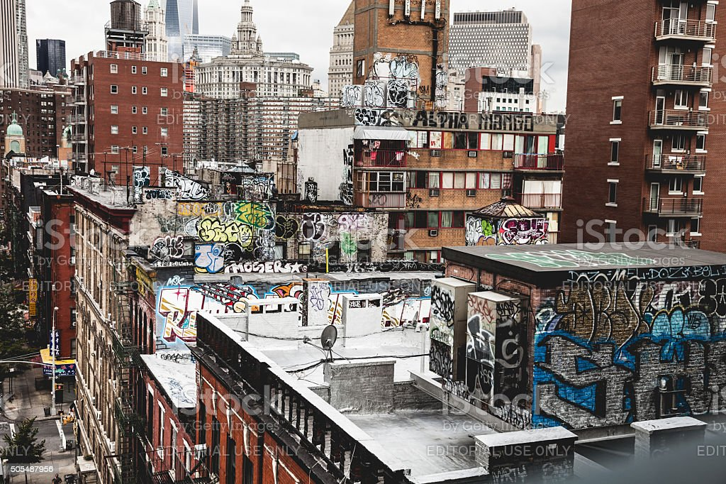 Chinatown New York graffiti on top of the buildings stock photo
