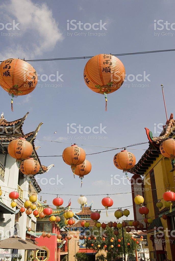 Chinatown paper lanterns royalty-free stock photo