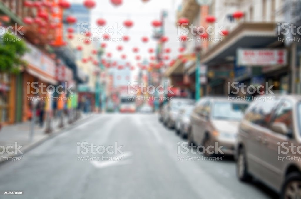 Chinatown Street in San Francisco with Bus blur stock photo