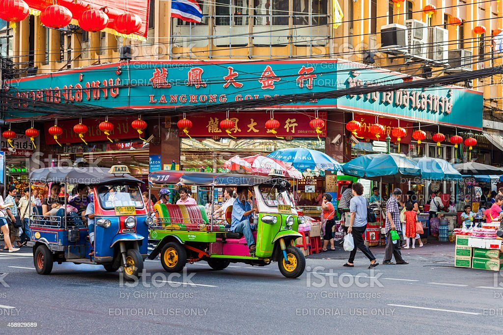 Chinatown street life in Bangkok stock photo