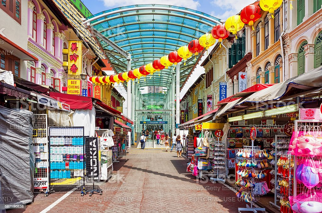 Chinatown street market decorated with paper lanterns in Singapore stock photo
