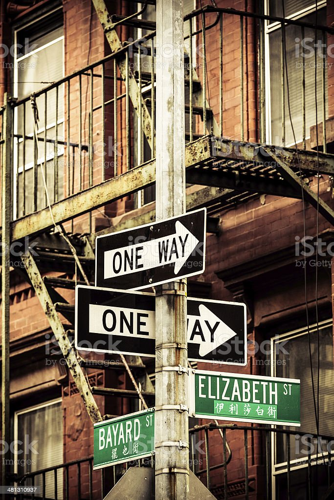 Chinatown Street Sign in New York City stock photo