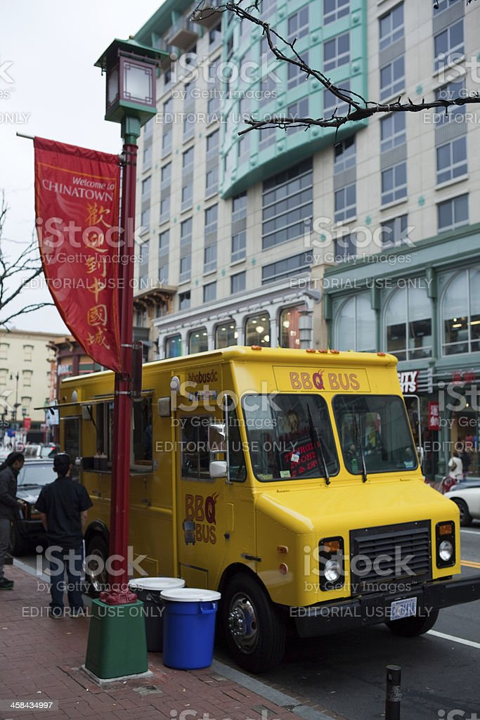 "Chinatown, Washington DC - Sidewalk mobile street restaurant ""BBQ bus"" royalty-free stock photo"