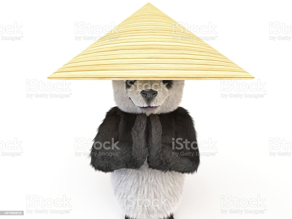 chineese cheerful character panda fluffy teddy stock photo