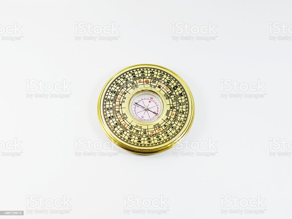 Chinense Vintage compass Isolated on white background royalty-free stock photo