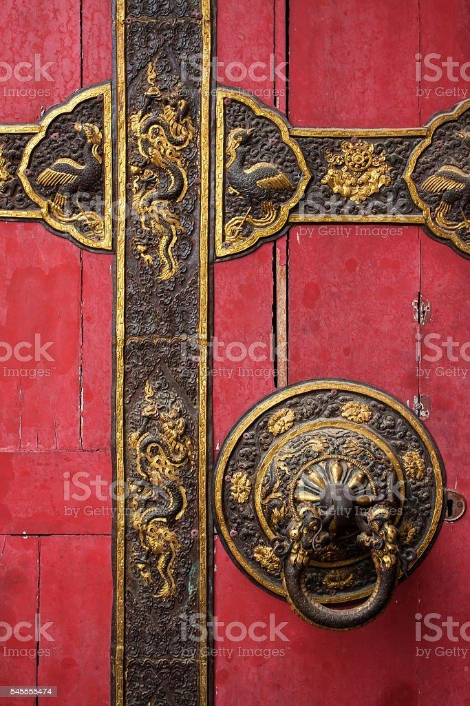 Chines door detail stock photo