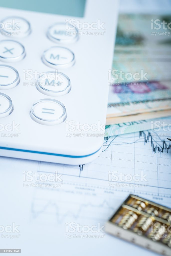 chinese abacus and financial still life stock photo