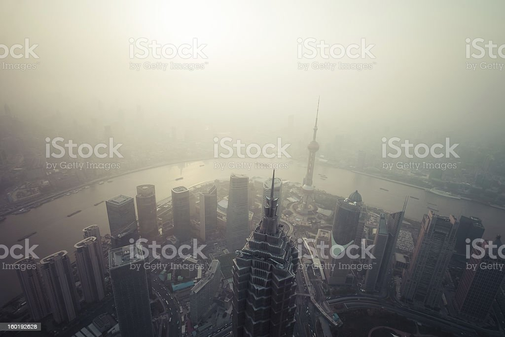 Chinese Air pollution, Shanghai, China stock photo