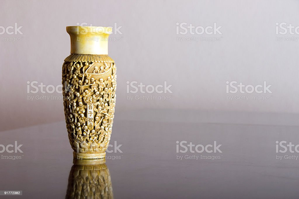Chinese Ancient carved Vase with copy space stock photo