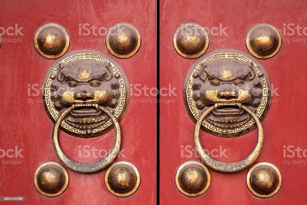 Chinese ancient door knocker stock photo