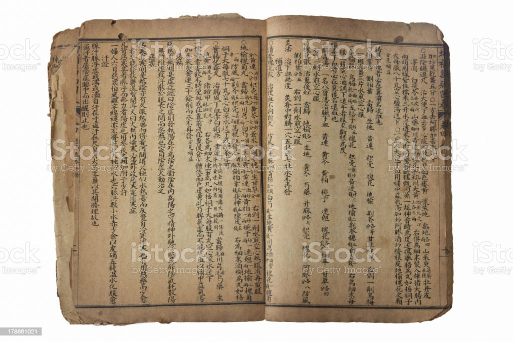 Chinese ancient medical book stock photo