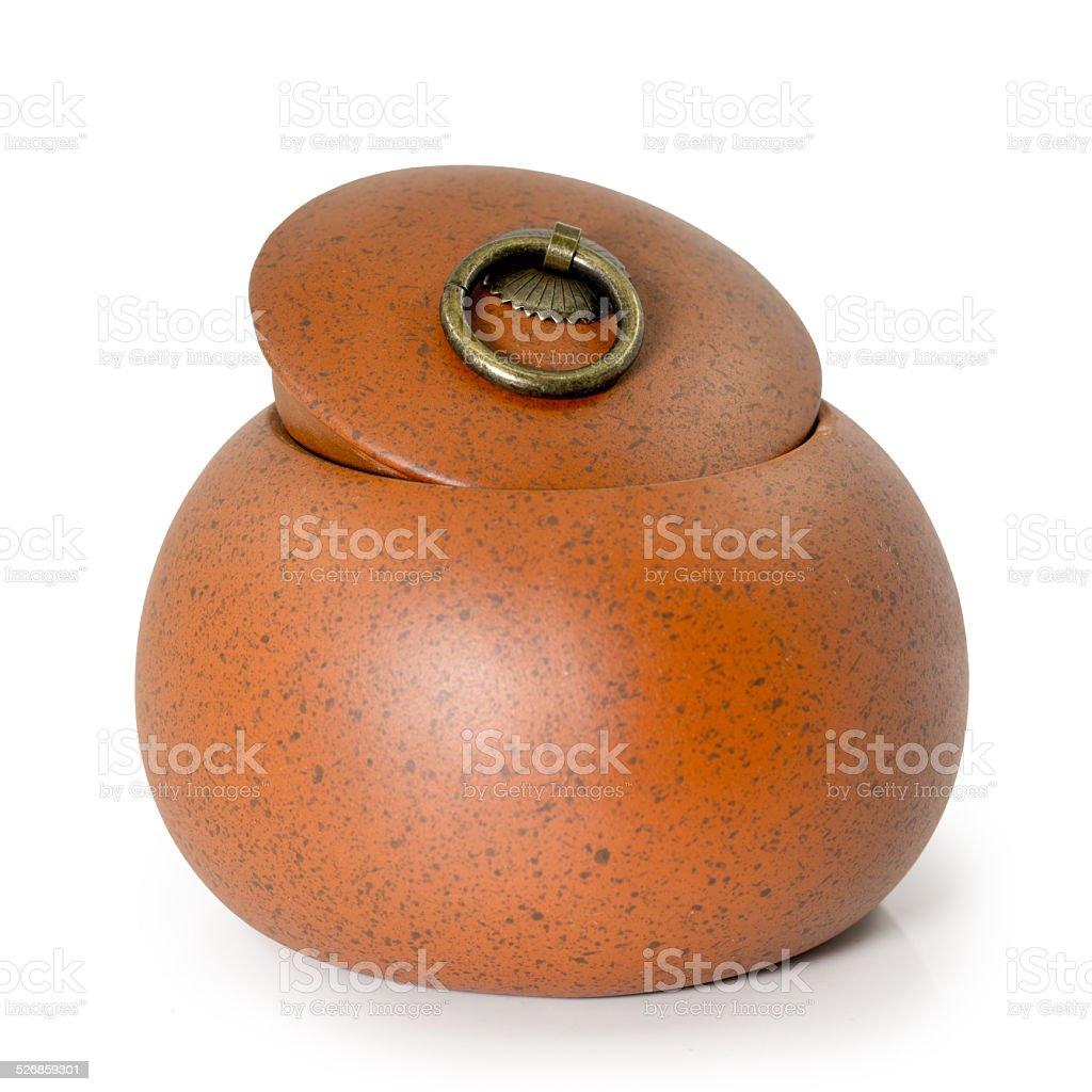 Chinese ancient pot isolated on white stock photo
