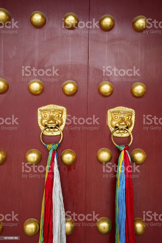 chinese ancient red doors royalty-free stock photo