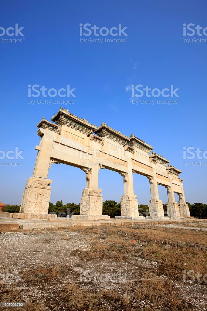 Chinese ancient stone arch stock photo