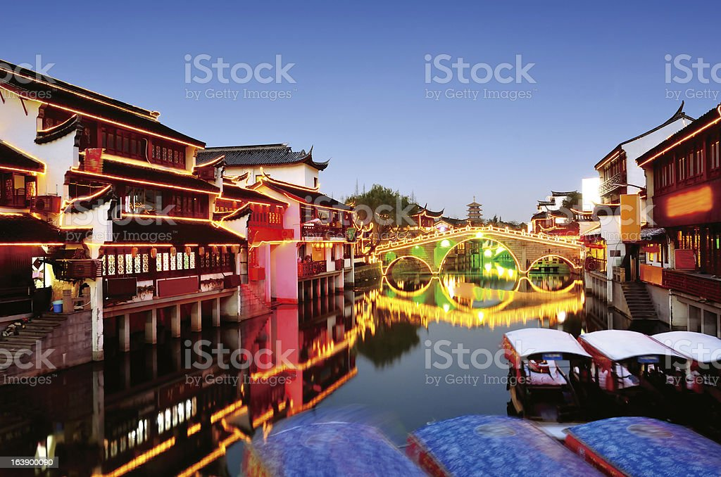 Chinese ancient town in sunset stock photo