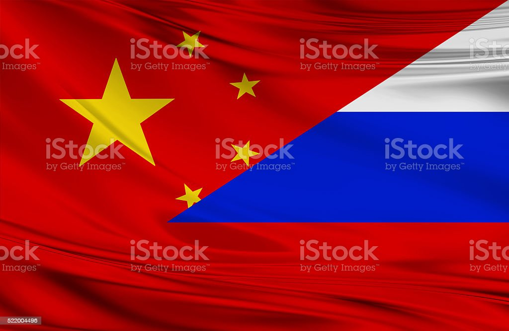 Chinese and Russian flag stock photo