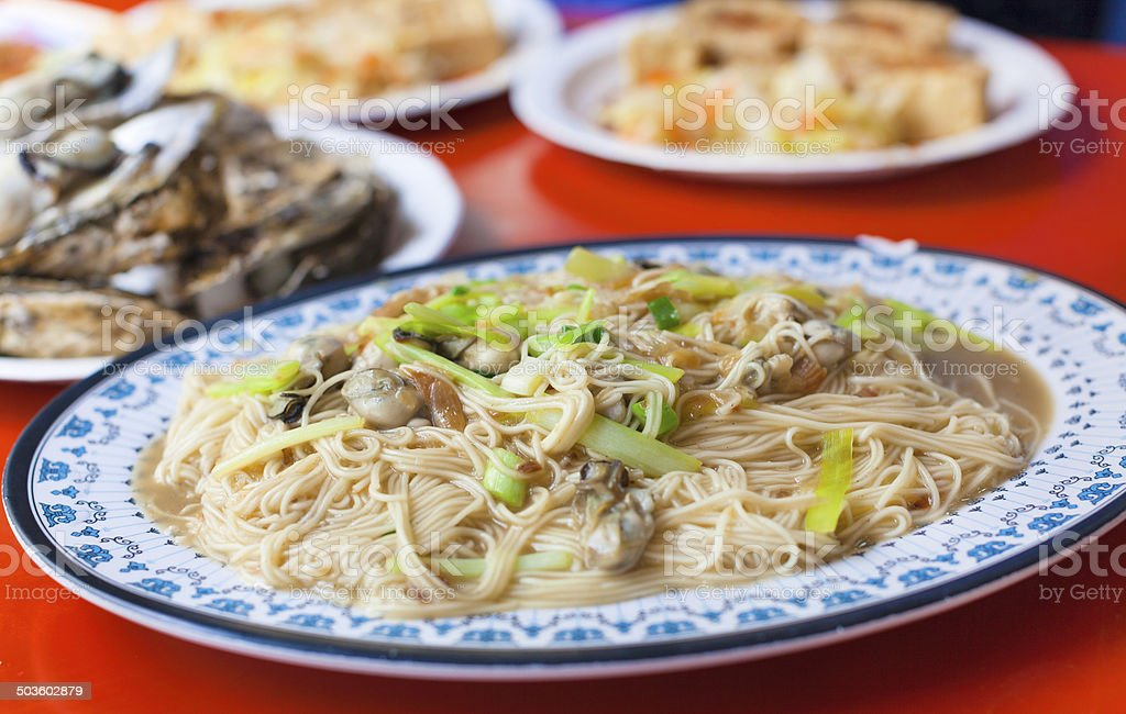 chinese and Taiwan traditional famous food - oyster thin noodle stock photo