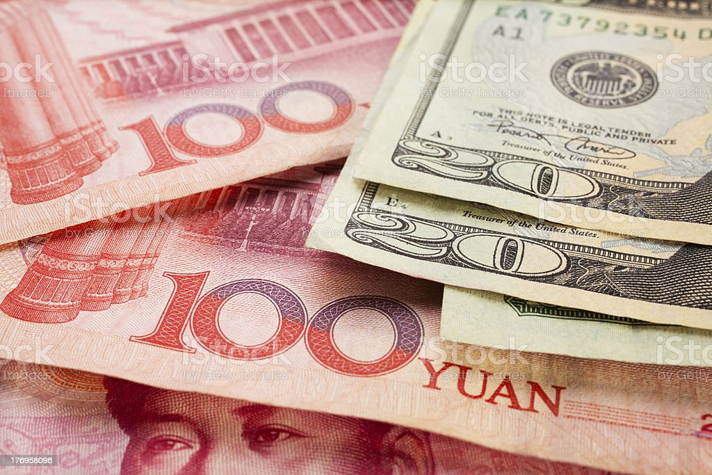 Chinese and US Currency royalty-free stock photo