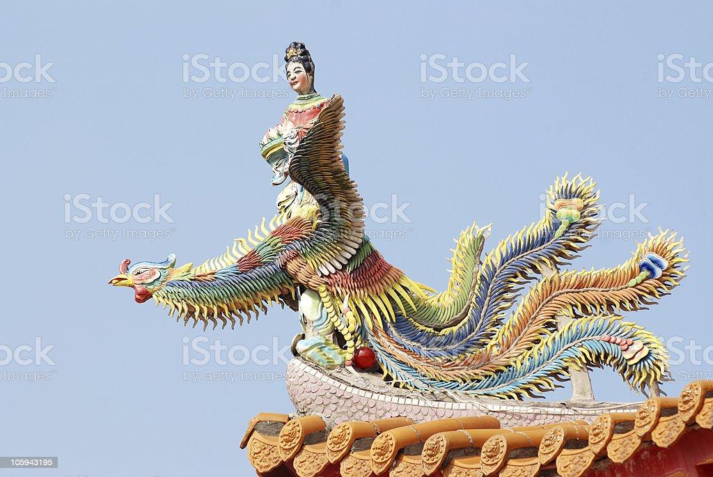 Chinese angel and phoenix . stock photo