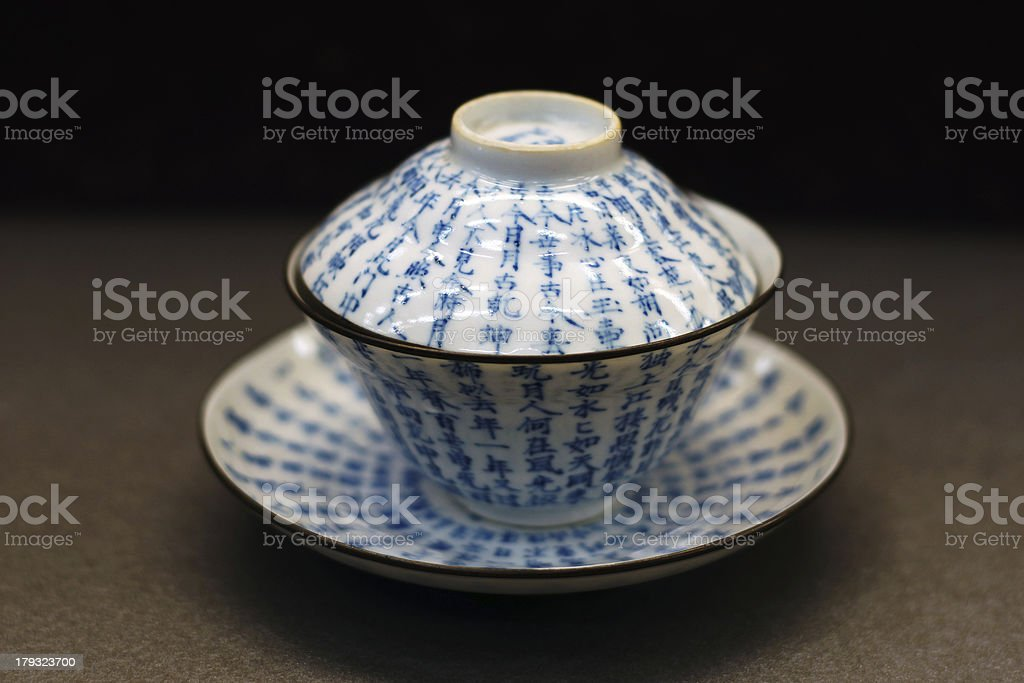 Chinese antique blue and white tea bowl, cover, saucer royalty-free stock photo