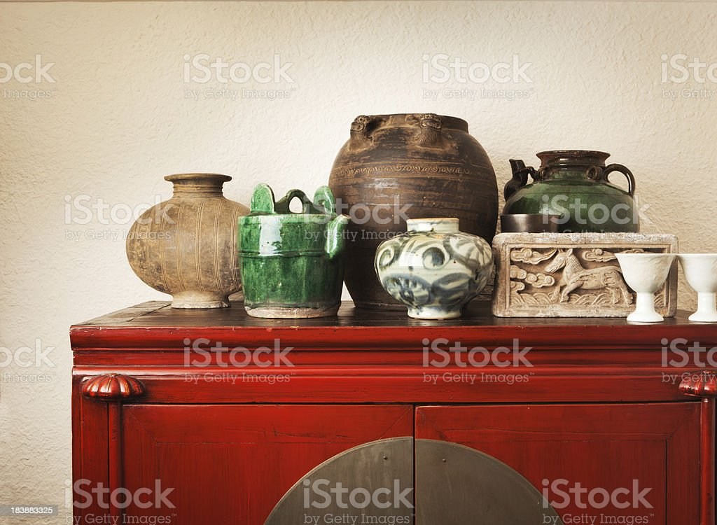 Chinese Antique Potteries and Furniture Collection Display Hz stock photo