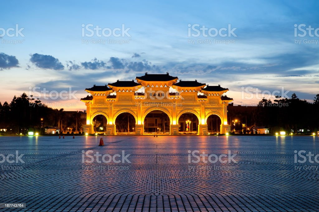 Chinese archways on Liberty Square in Taipei, Taiwan royalty-free stock photo