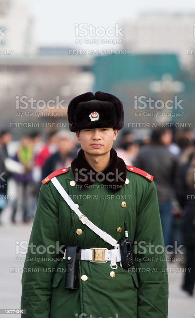 Chinese army on Tiananmen Square royalty-free stock photo