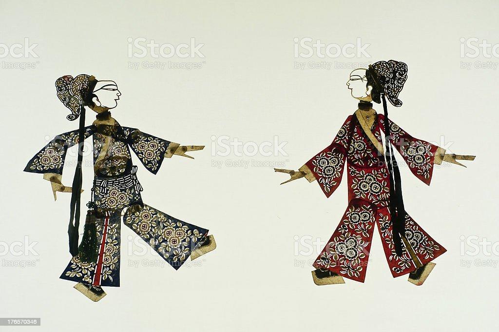 Chinese art of shadow play, an ancient folk drama, stock photo