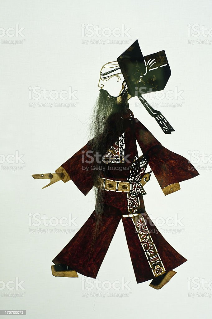 Chinese art of shadow play, an ancient folk drama, royalty-free stock photo