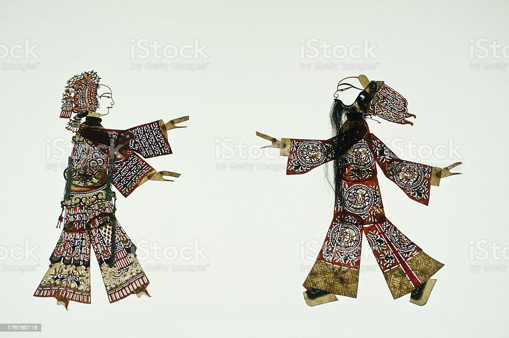 Chinese art of shadow play, an ancient folk drama, royalty-free stock photo